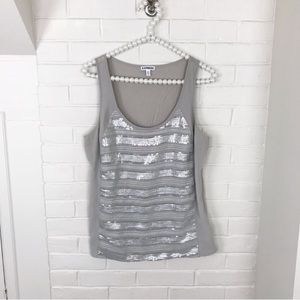 {Express} Silver Sequined Tank Top